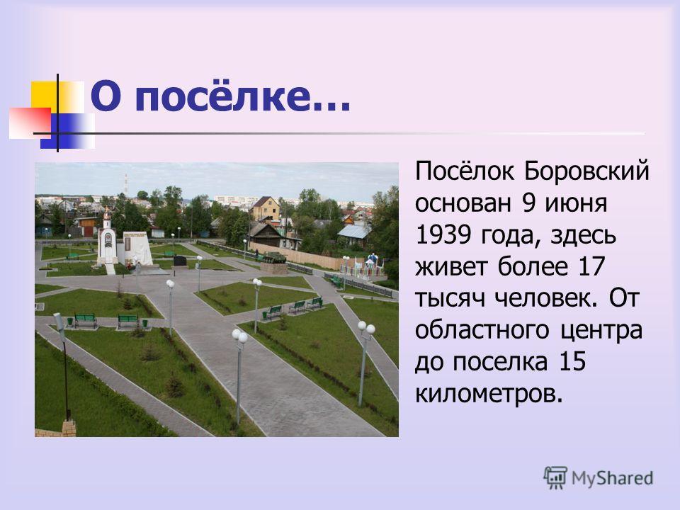 О посёлке… Посёлок Боровский основан 9 июня 1939 года, здесь живет более 17 тысяч человек. От областного центра до поселка 15 километров.