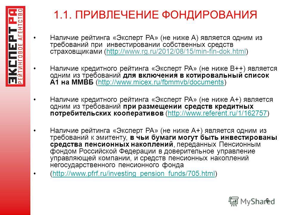 6 1.1. ПРИВЛЕЧЕНИЕ ФОНДИРОВАНИЯ Наличие рейтинга «Эксперт РА» (не ниже А) является одним из требований при инвестировании собственных средств страховщиками (http://www.rg.ru/2012/08/15/min-fin-dok.html)http:// Наличие кредитного рейтинга «Эксперт РА»