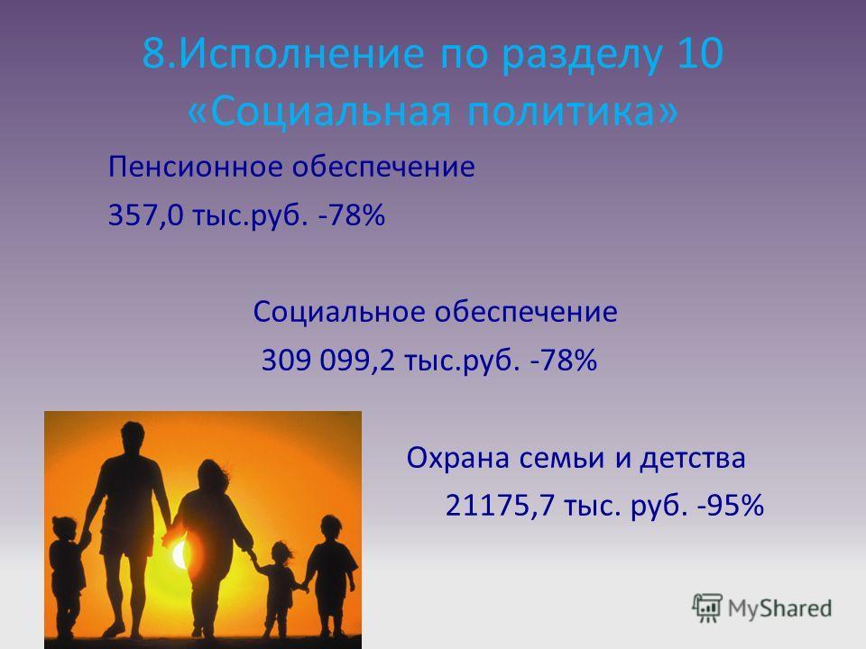 8.Исполнение по разделу 10 «Социальная политика» Пенсионное обеспечение 357,0 тыс.руб. -78% Социальное обеспечение 309 099,2 тыс.руб. -78% Охрана семьи и детства 21175,7 тыс. руб. -95%