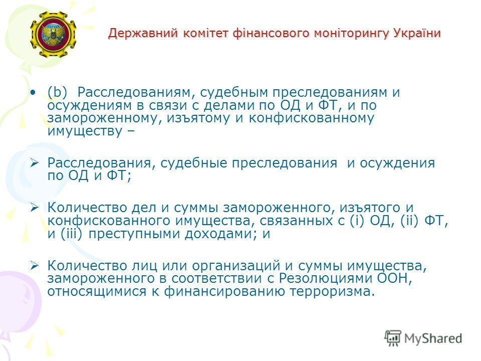 Державний комітет фінансового моніторингу України (b)Расследованиям, судебным преследованиям и осуждениям в связи с делами по ОД и ФТ, и по замороженному, изъятому и конфискованному имуществу – Расследования, судебные преследования и осуждения по ОД