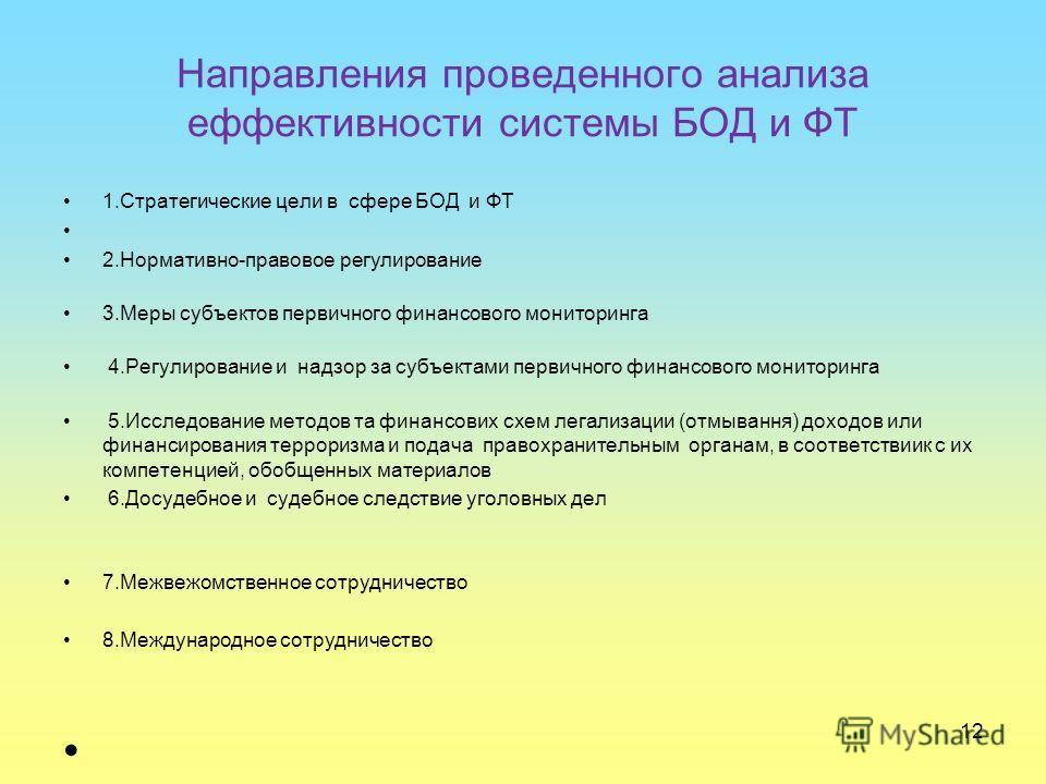 Направления проведенного анализа еффективности системы БОД и ФТ 1.Стратегические цели в сфере БОД и ФТ 2.Нормативно-правовое регулирование 3.Меры субъектов первичного финансового мониторинга 4.Регулирование и надзор за субъектами первичного финансово