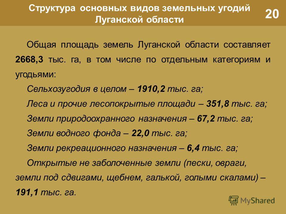 20 Структура основных видов земельных угодий Луганской области Общая площадь земель Луганской области составляет 2668,3 тыс. га, в том числе по отдельным категориям и угодьями: Сельхозугодия в целом – 1910,2 тыс. га; Леса и прочие лесопокрытые площад