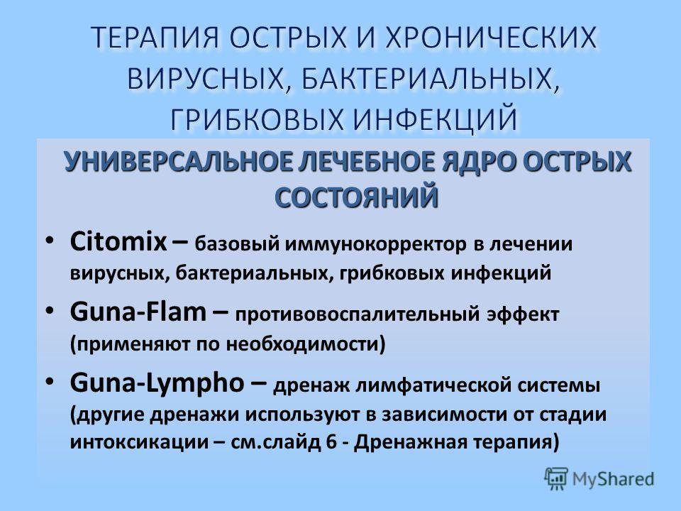 УНИВЕРСАЛЬНОЕ ЛЕЧЕБНОЕ ЯДРО ОСТРЫХ СОСТОЯНИЙ Citomix – базовый иммунокорректор в лечении вирусных, бактериальных, грибковых инфекций Guna-Flam – противовоспалительный эффект (применяют по необходимости) Guna-Lympho – дренаж лимфатической системы (дру
