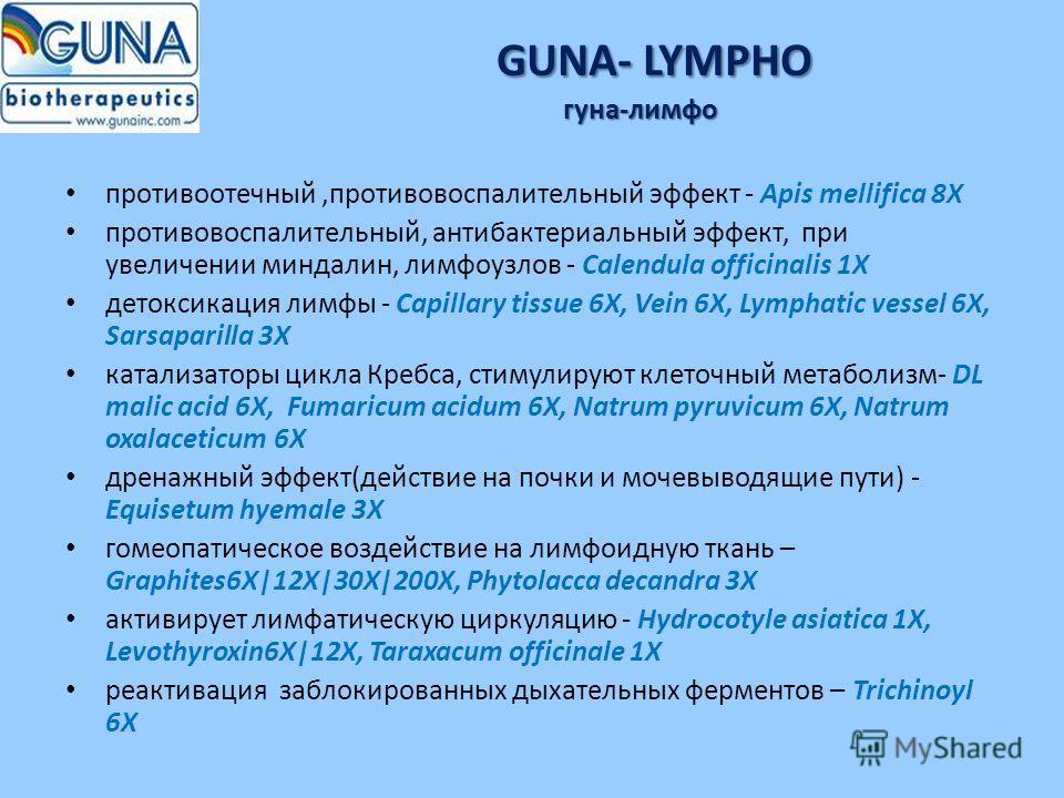 GUNA- LYMPHO гуна-лимфо противоотечный,противовоспалительный эффект - Apis mellifica 8X противовоспалительный, антибактериальный эффект, при увеличении миндалин, лимфоузлов - Calendula officinalis 1X детоксикация лимфы - Capillary tissue 6X, Vein 6X,