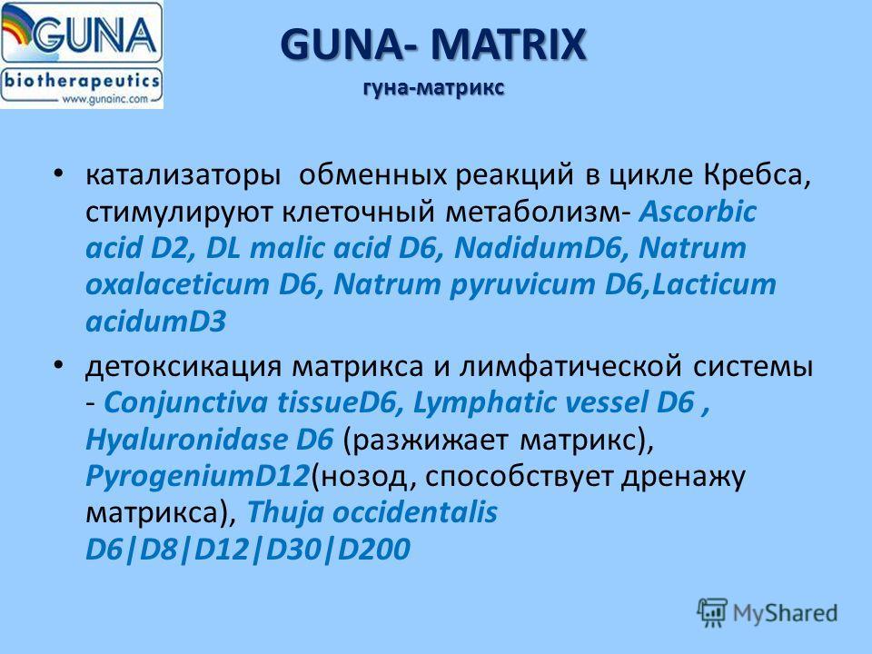 GUNA- MATRIX гуна-матрикс катализаторы обменных реакций в цикле Кребса, стимулируют клеточный метаболизм- Ascorbic acid D2, DL malic acid D6, NadidumD6, Natrum oxalaceticum D6, Natrum pyruvicum D6,Lacticum acidumD3 детоксикация матрикса и лимфатическ