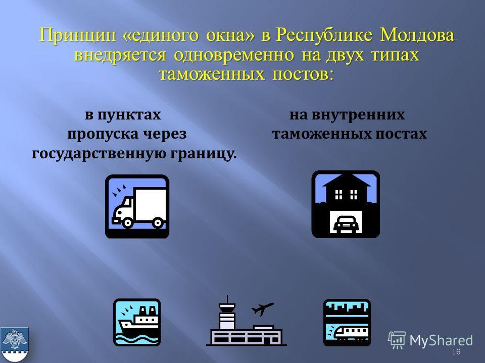 Принцип «единого окна» в Республике Молдова внедряется одновременно на двух типах таможенных постов: в пунктах на внутренних пропуска через таможенных постах государственную границу. 16
