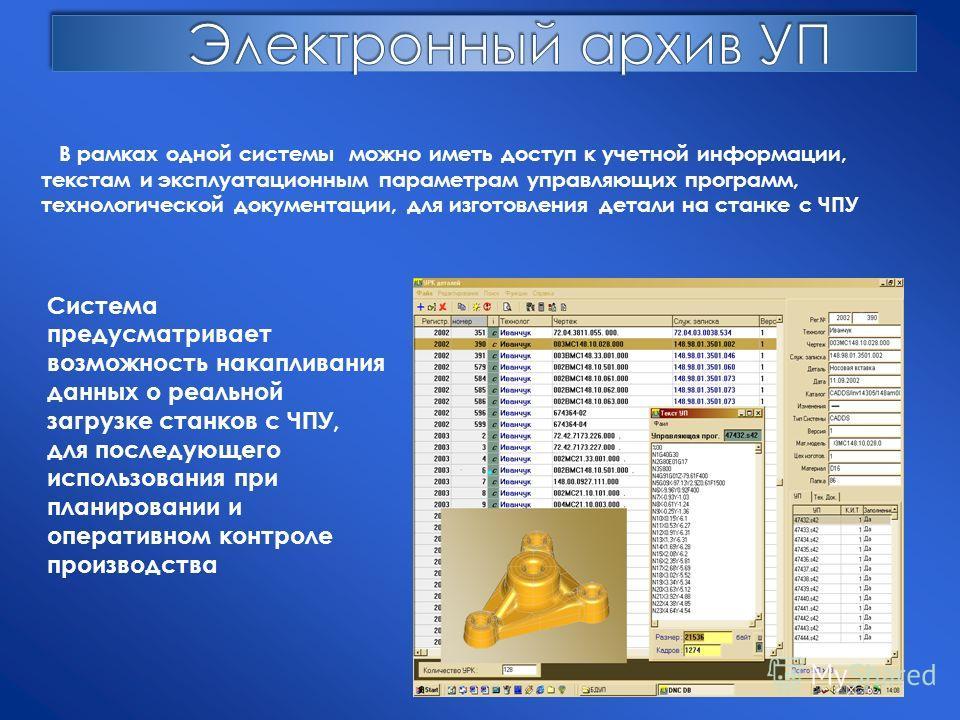 В рамках одной системы можно иметь доступ к учетной информации, текстам и эксплуатационным параметрам управляющих программ, технологической документации, для изготовления детали на станке с ЧПУ Система предусматривает возможность накапливания данных