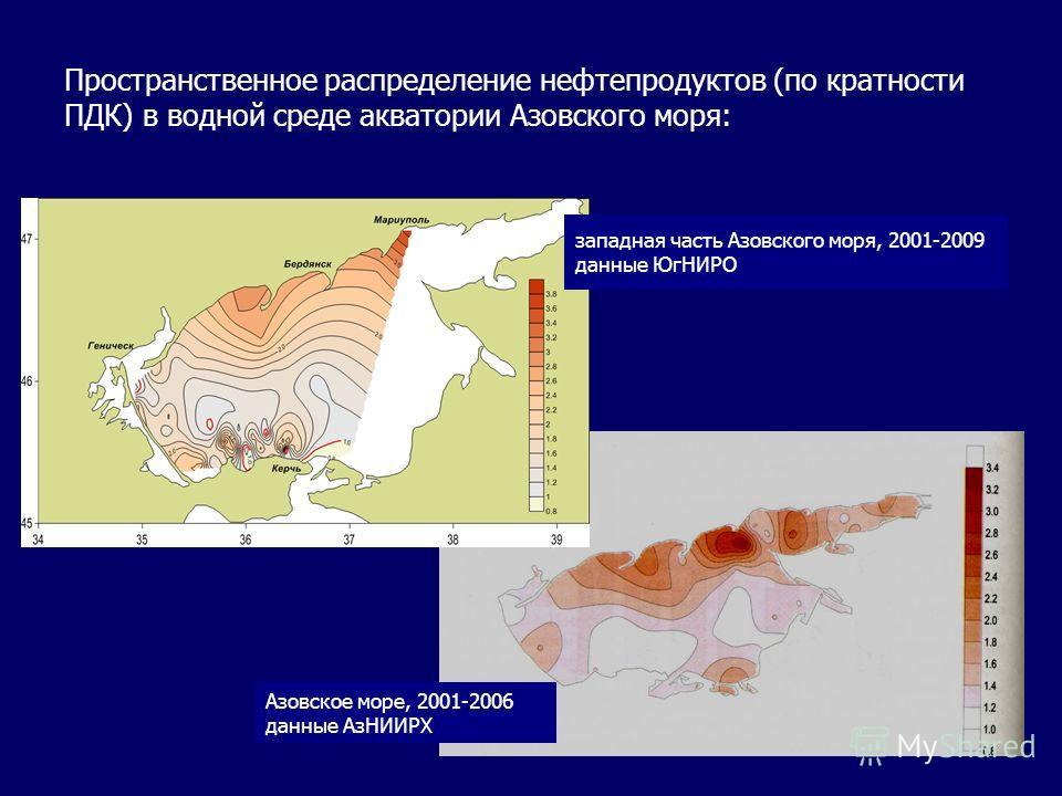 Пространственное распределение нефтепродуктов (по кратности ПДК) в водной среде акватории Азовского моря: западная часть Азовского моря, 2001-2009 данные ЮгНИРО Азовское море, 2001-2006 данные АзНИИРХ