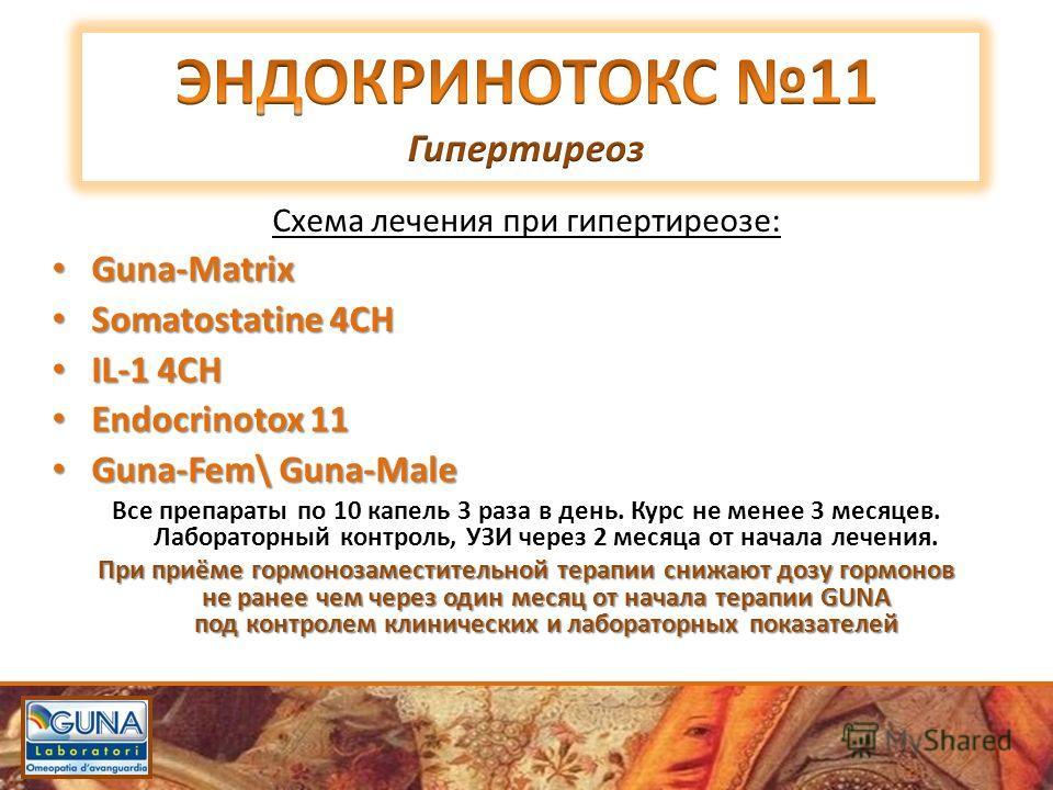 Схема лечения при гипертиреозе: Guna-Matrix Guna-Matrix Somatostatine 4СН Somatostatine 4СН IL-1 4CН IL-1 4CН Endocrinotox 11 Endocrinotox 11 Guna-Fem\ Guna-Male Guna-Fem\ Guna-Male Все препараты по 10 капель 3 раза в день. Курс не менее 3 месяцев. Л
