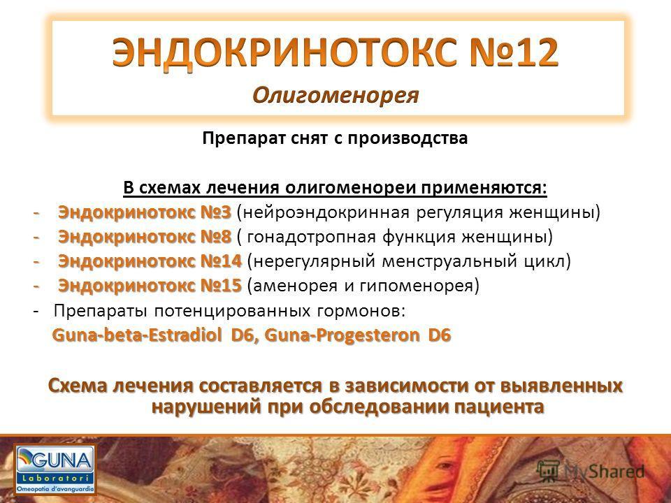 Препарат снят с производства В схемах лечения олигоменореи применяются: -Эндокринотокс 3 -Эндокринотокс 3 (нейроэндокринная регуляция женщины) -Эндокринотокс 8 -Эндокринотокс 8 ( гонадотропная функция женщины) -Эндокринотокс 14 -Эндокринотокс 14 (нер