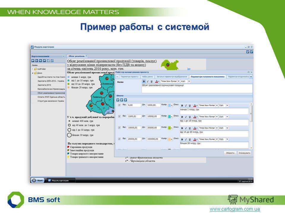 Пример работы с системой www.cartogram.com.ua