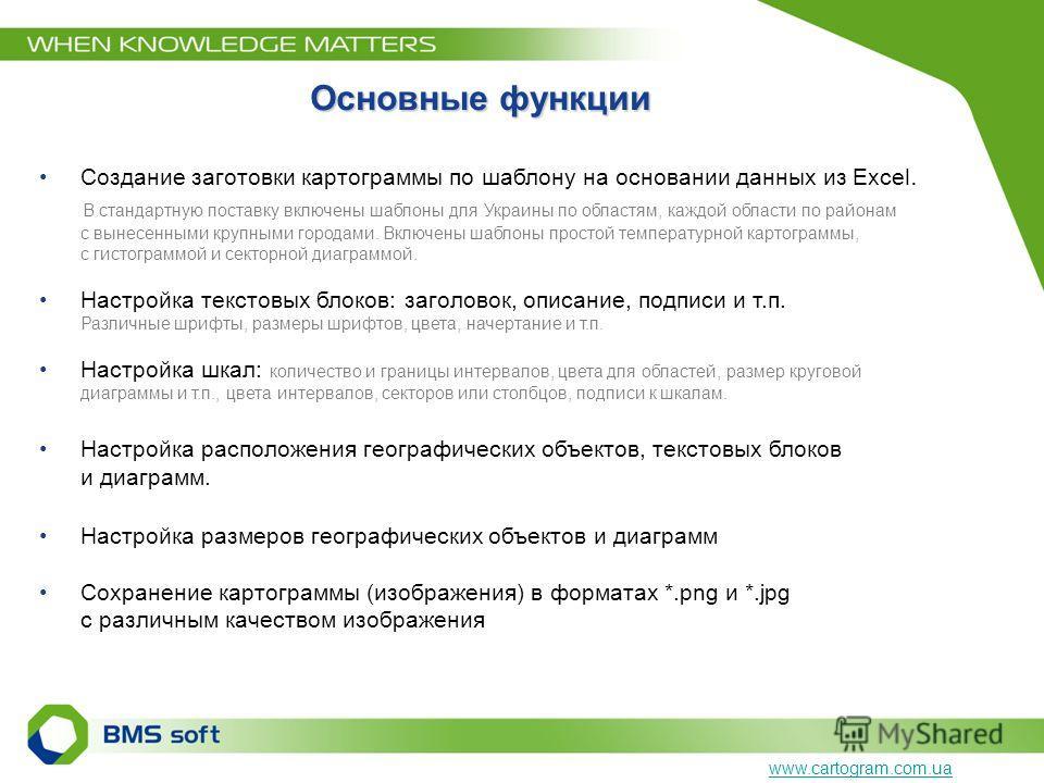 Основные функции Создание заготовки картограммы по шаблону на основании данных из Excel. В стандартную поставку включены шаблоны для Украины по областям, каждой области по районам с вынесенными крупными городами. Включены шаблоны простой температурно