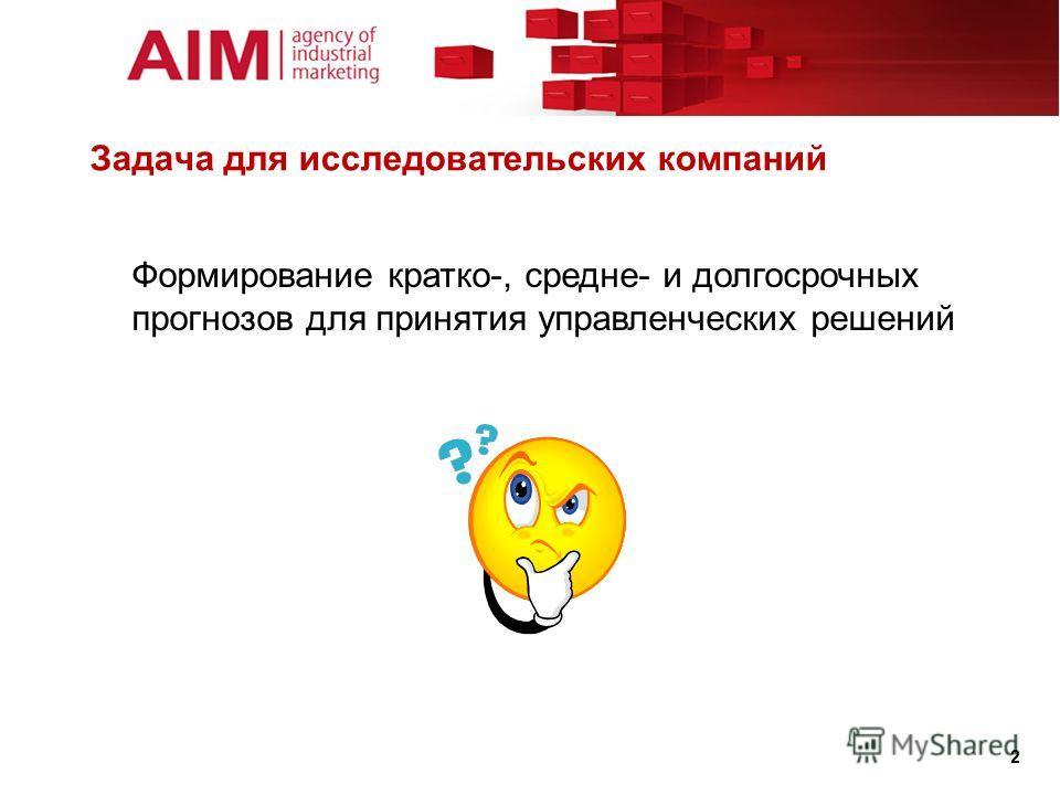 Задача для исследовательских компаний 2 Формирование кратко-, средне- и долгосрочных прогнозов для принятия управленческих решений