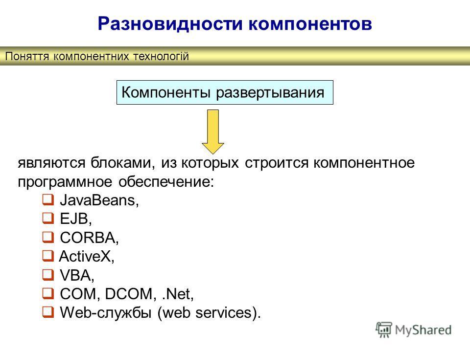 Поняття компонентних технологій Разновидности компонентов Компоненты развертывания являются блоками, из которых строится компонентное программное обеспечение: JavaBeans, EJB, CORBA, ActiveX, VBA, COM, DCOM,.Net, Web-службы (web services).