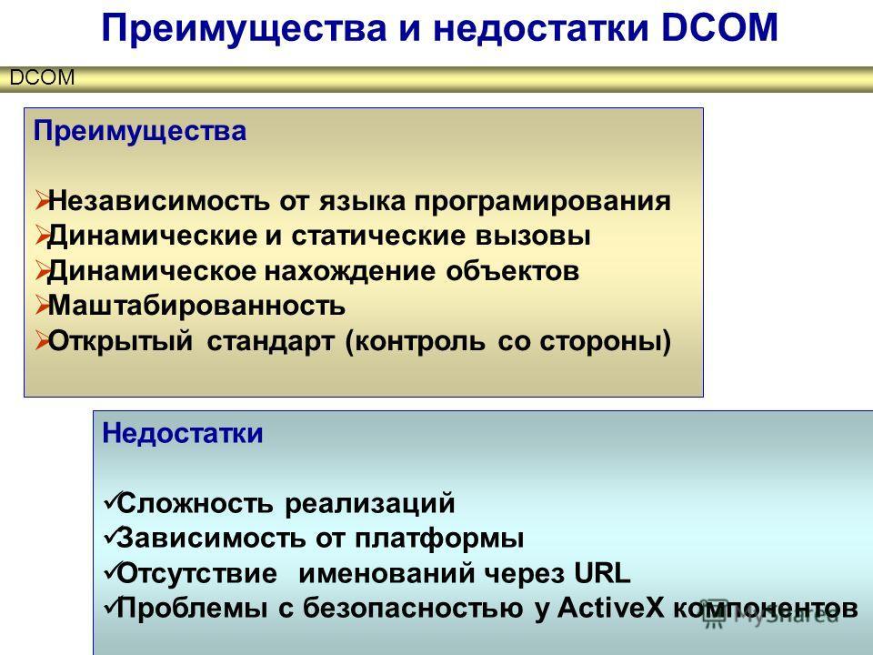 DCOM Преимущества и недостатки DCOM Преимущества Независимость от языка програмирования Динамические и статические вызовы Динамическое нахождение объектов Маштабированность Открытый стандарт (контроль со стороны) Недостатки Сложность реализаций Завис