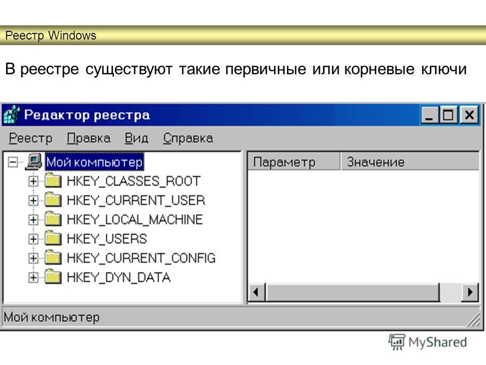 В реестре существуют такие первичные или корневые ключи Реестр Windows