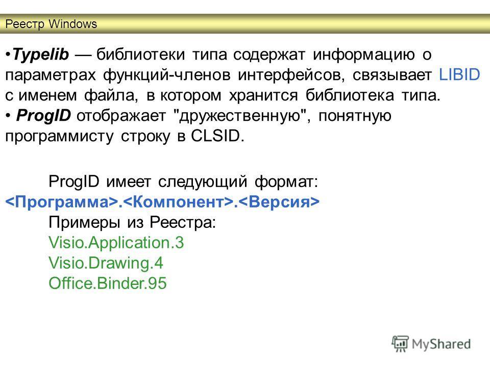 Typelib библиотеки типа содержат информацию о параметрах функций-членов интерфейсов, связывает LIBID с именем файла, в котором хранится библиотека типа. ProgID отображает