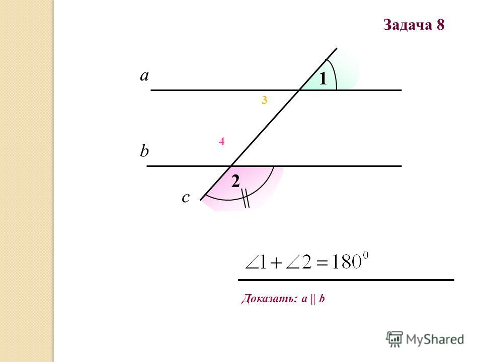 Доказать: a || b Задача 8 а b c 1 2 3 4