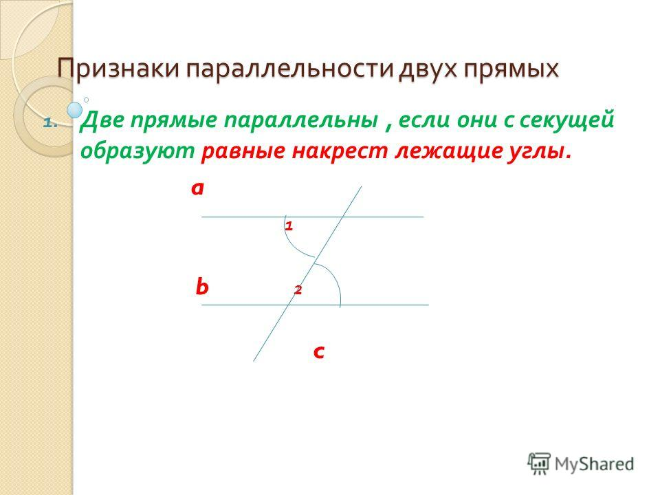 Признаки параллельности двух прямых 1. Две прямые параллельны, если они с секущей образуют равные накрест лежащие углы. a 1 b 2 c