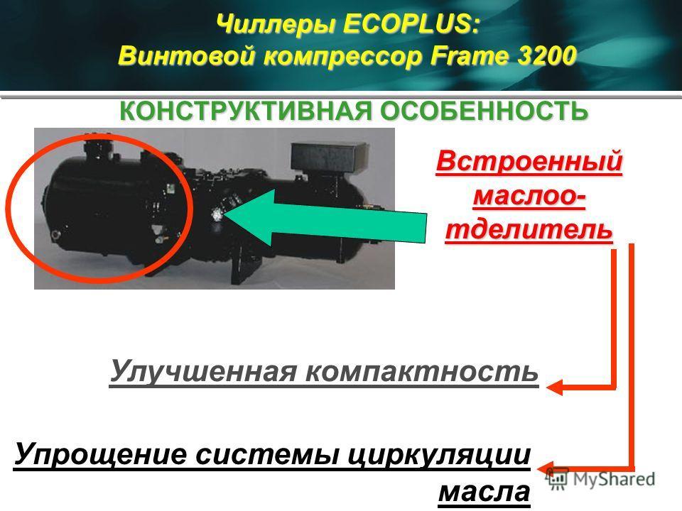 Встроенный маслоо- тделитель Улучшенная компактность Упрощение системы циркуляции масла Чиллеры ECOPLUS: Винтовой компрессор Frame 3200 КОНСТРУКТИВНАЯ ОСОБЕННОСТЬ