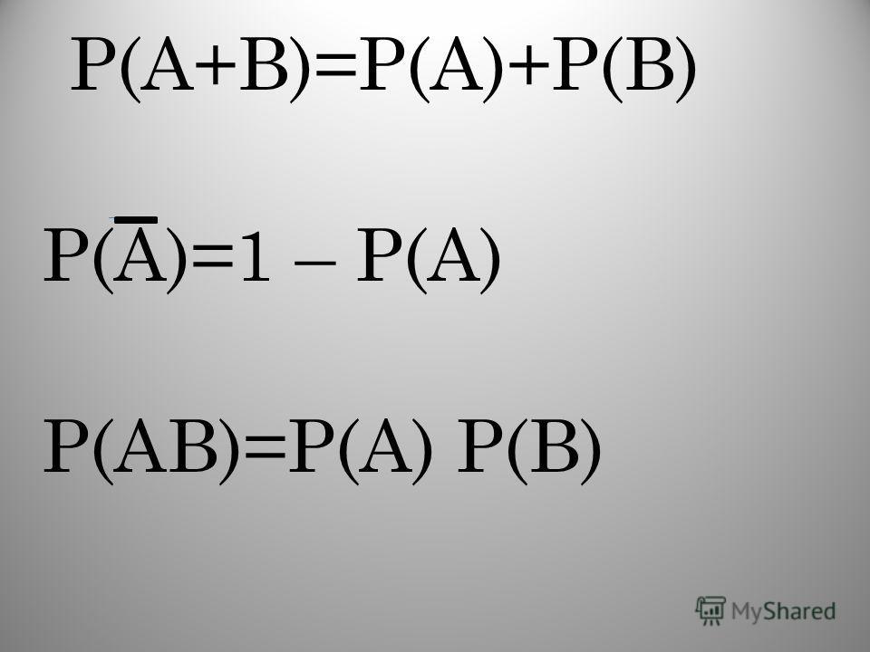 Р(А+В)=Р(А)+Р(В) Р(А)=1 – Р(А) Р(АВ)=Р(А) Р(В)