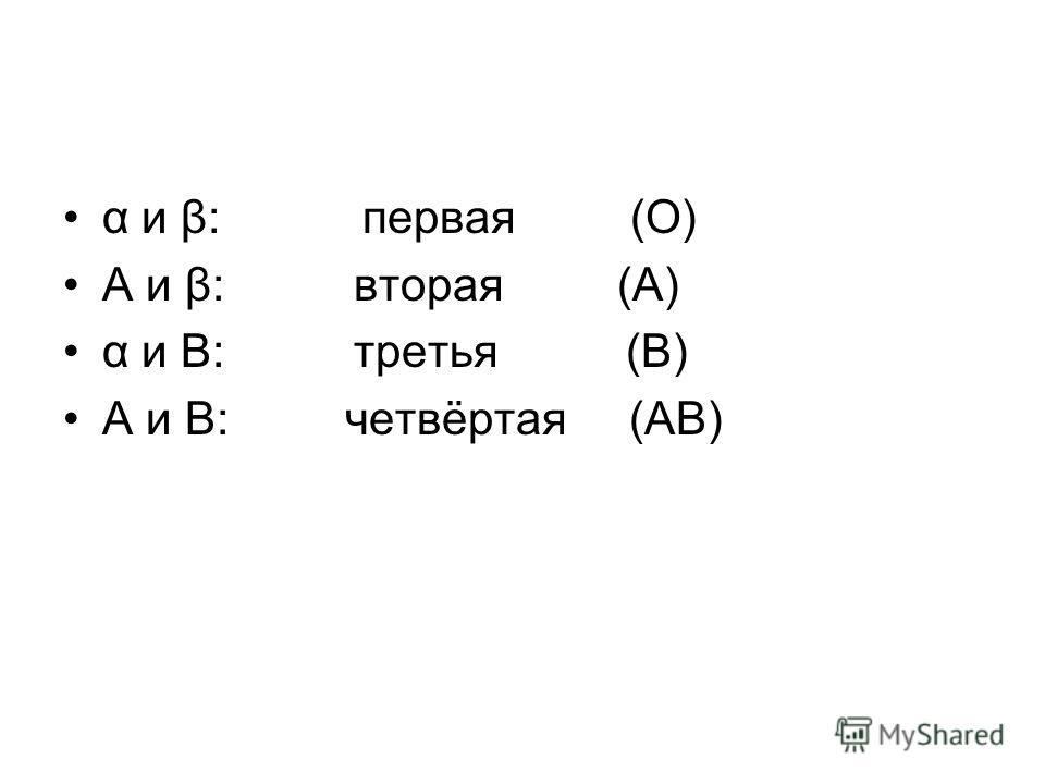 α и β: первая (O) A и β: вторая (A) α и B: третья (B) A и B: четвёртая (AB)