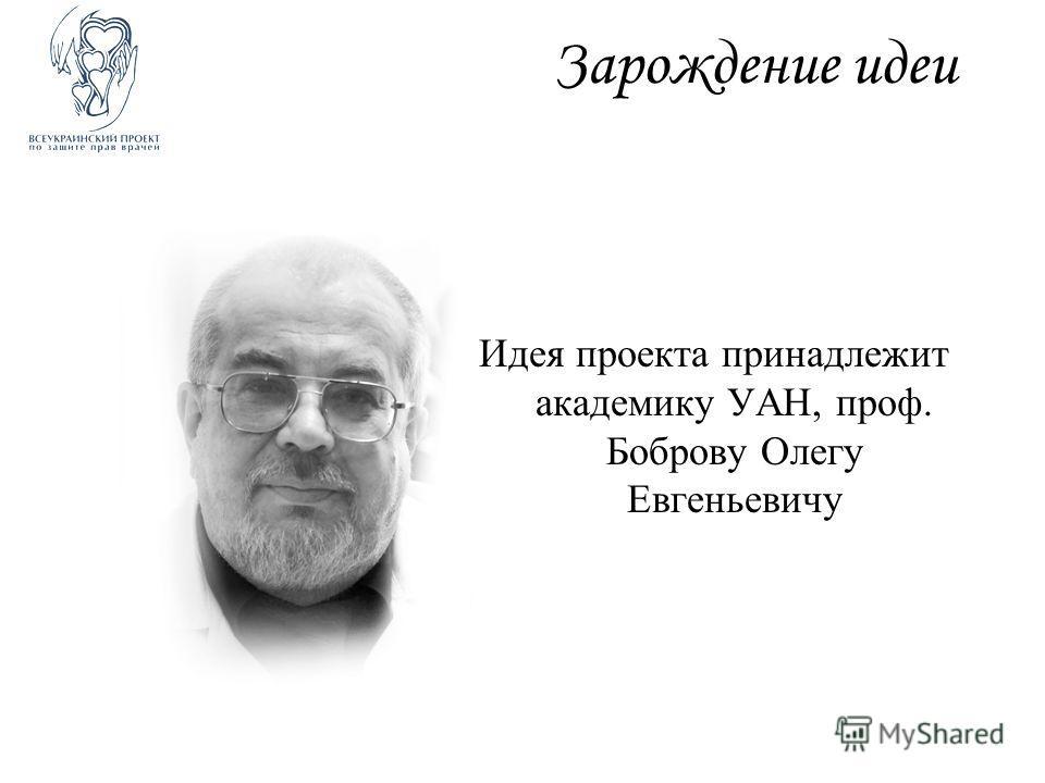 Зарождение идеи Идея проекта принадлежит академику УАН, проф. Боброву Олегу Евгеньевичу
