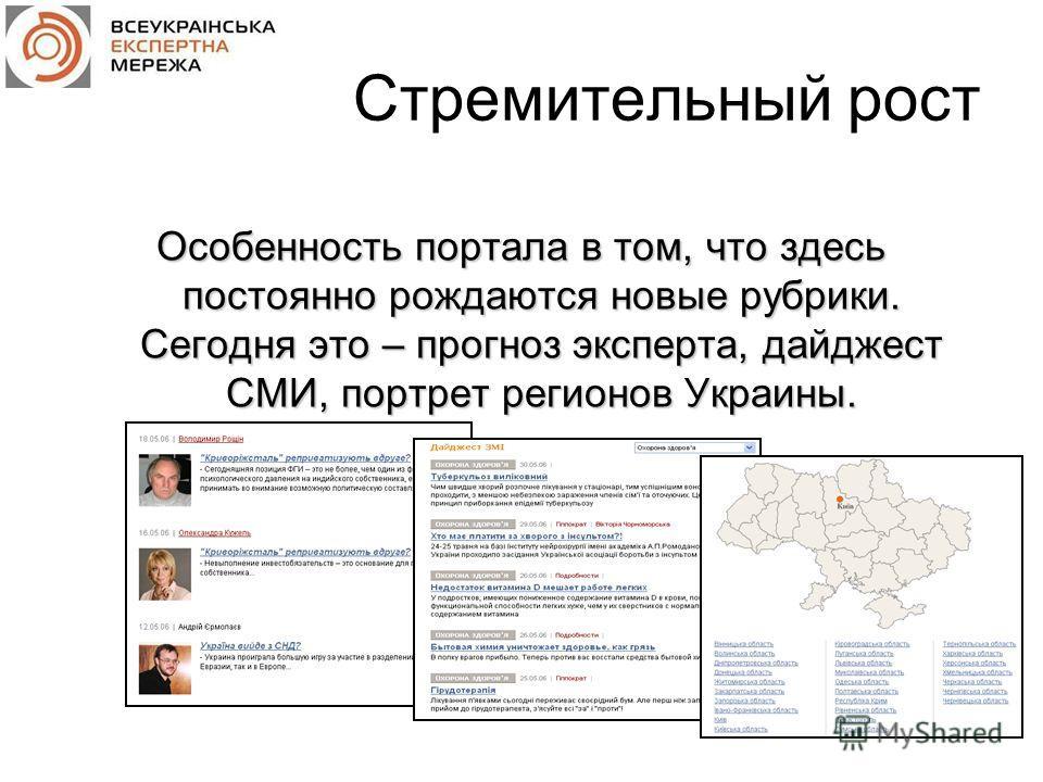 Стремительный рост Особенность портала в том, что здесь постоянно рождаются новые рубрики. Сегодня это – прогноз эксперта, дайджест СМИ, портрет регионов Украины.
