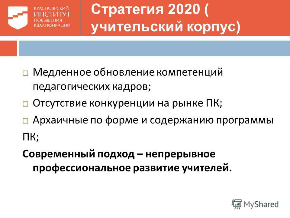 Стратегия 2020 ( учительский корпус) Медленное обновление компетенций педагогических кадров ; Отсутствие конкуренции на рынке ПК ; Архаичные по форме и содержанию программы ПК ; Современный подход – непрерывное профессиональное развитие учителей.