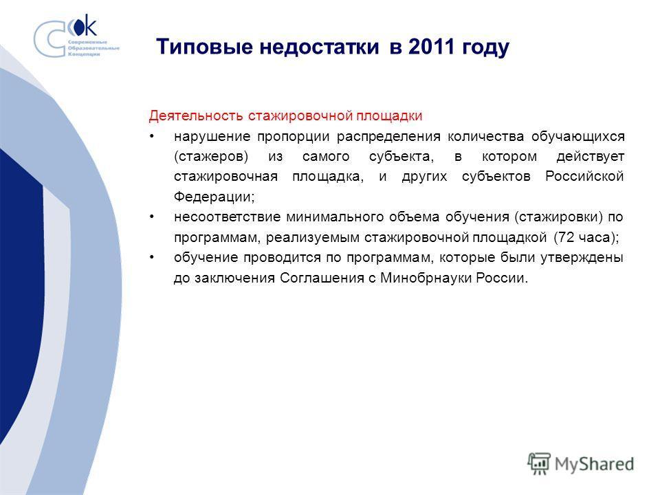 Деятельность стажировочной площадки нарушение пропорции распределения количества обучающихся (стажеров) из самого субъекта, в котором действует стажировочная площадка, и других субъектов Российской Федерации; несоответствие минимального объема обучен