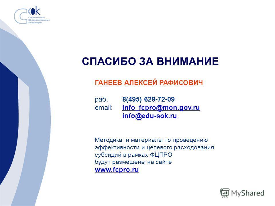 СПАСИБО ЗА ВНИМАНИЕ ГАНЕЕВ АЛЕКСЕЙ РАФИСОВИЧ раб.8(495) 629-72-09 email: info_fcpro@mon.gov.ruinfo_fcpro@mon.gov.ru info@edu-sok.ru Методика и материалы по проведению эффективности и целевого расходования субсидий в рамках ФЦПРО будут размещены на са