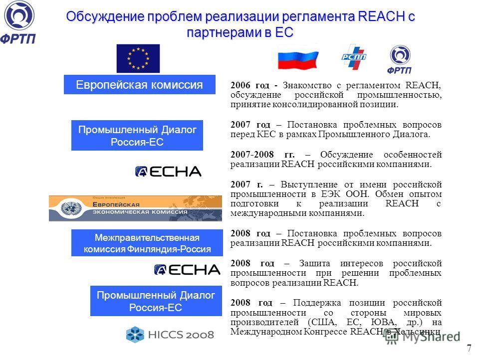 Обсуждение проблем реализации регламента REACH с партнерами в ЕС Европейская комиссия Промышленный Диалог Россия-ЕС 7 Межправительственная комиссия Финляндия-Россия 2006 год - Знакомство с регламентом REACH, обсуждение российской промышленностью, при