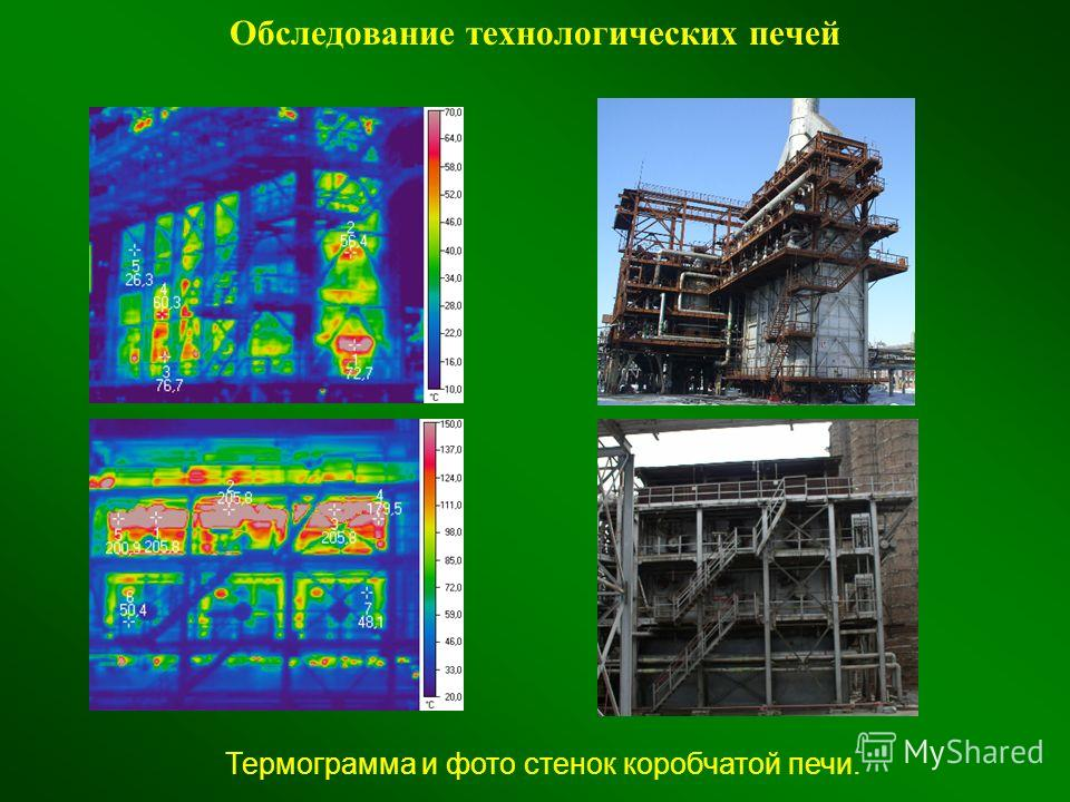 Обследование технологических печей Термограмма и фото стенок коробчатой печи.
