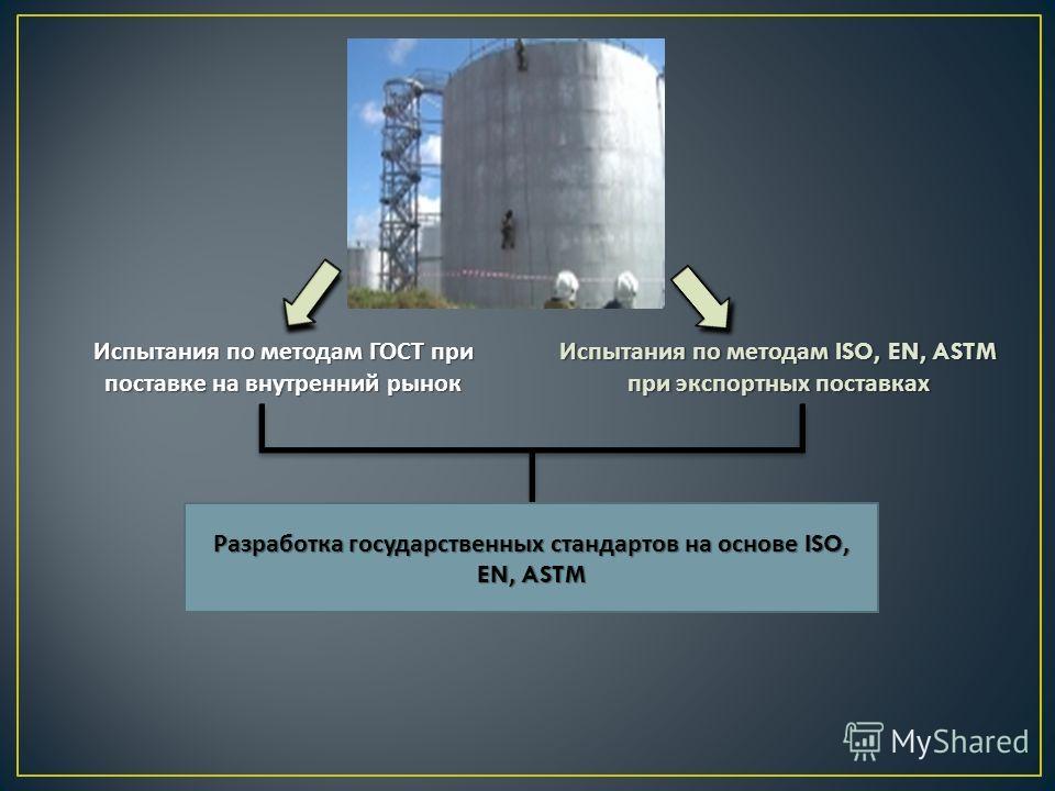 Испытания по методам ГОСТ при поставке на внутренний рынок Испытания по методам ISO, EN, ASTM при экспортных поставках Разработка государственных стандартов на основе ISO, EN, ASTM