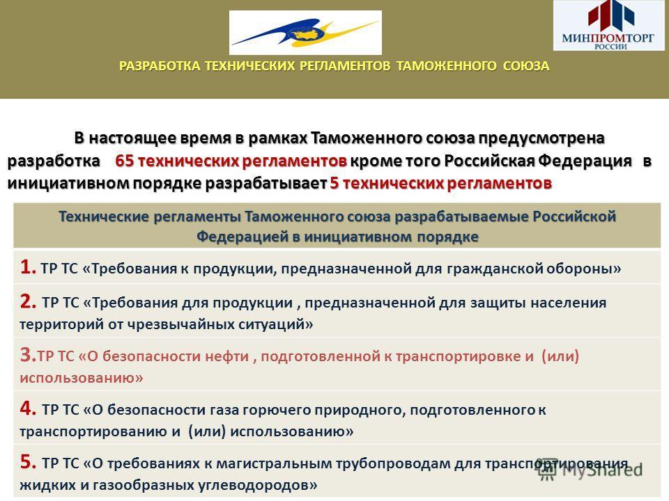 В настоящее время в рамках Таможенного союза предусмотрена разработка 65 технических регламентов кроме того Российская Федерация в инициативном порядке разрабатывает 5 технических регламентов РАЗРАБОТКА ТЕХНИЧЕСКИХ РЕГЛАМЕНТОВ ТАМОЖЕННОГО СОЮЗА Техни