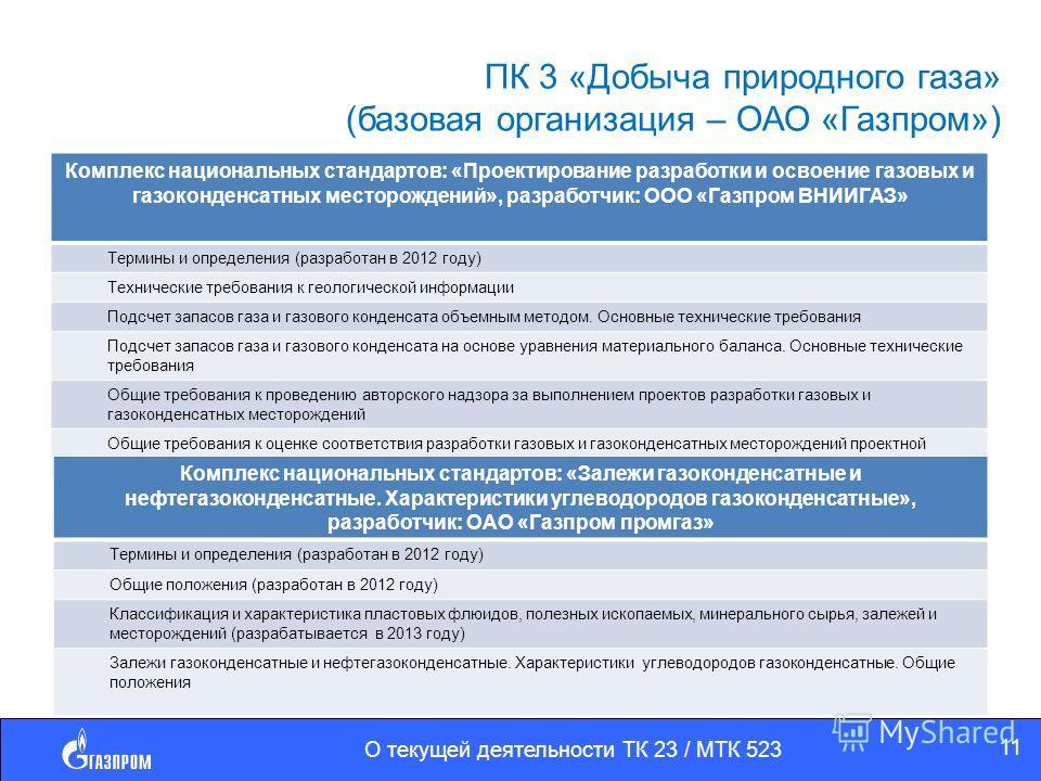 ПК 3 «Добыча природного газа» (базовая организация – ОАО «Газпром») Комплекс национальных стандартов: «Проектирование разработки и освоение газовых и газоконденсатных месторождений», разработчик: ООО «Газпром ВНИИГАЗ» Термины и определения (разработа