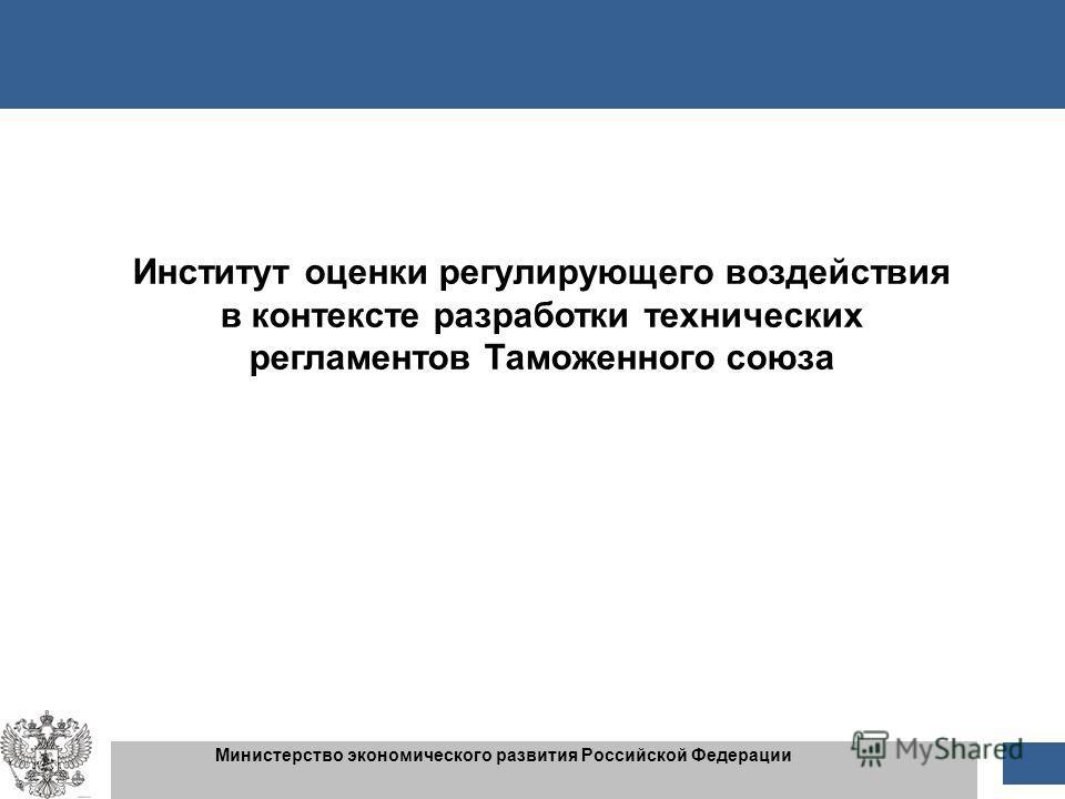 1 1 Министерство экономического развития Российской Федерации Институт оценки регулирующего воздействия в контексте разработки технических регламентов Таможенного союза