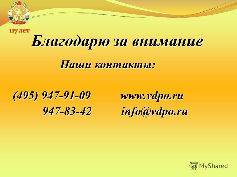 Благодарю за внимание Наши контакты: (495) 947-91-09 www.vdpo.ru 947-83-42 info@vdpo.ru 947-83-42 info@vdpo.ru