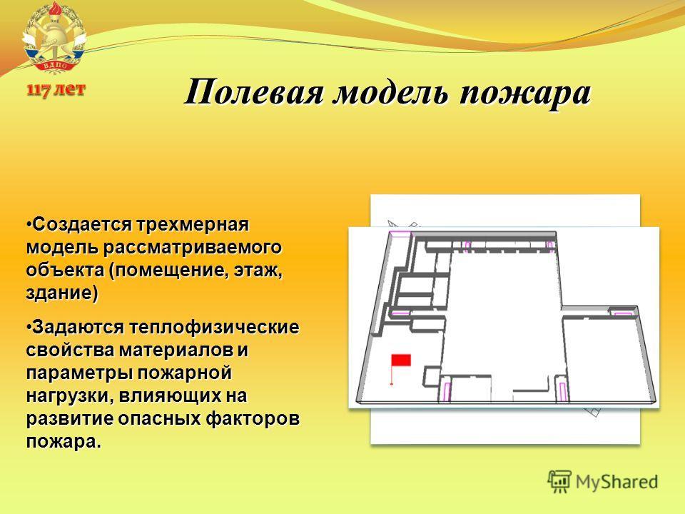 Полевая модель пожара Создается трехмерная модель рассматриваемого объекта (помещение, этаж, здание)Создается трехмерная модель рассматриваемого объекта (помещение, этаж, здание) Задаются теплофизические свойства материалов и параметры пожарной нагру