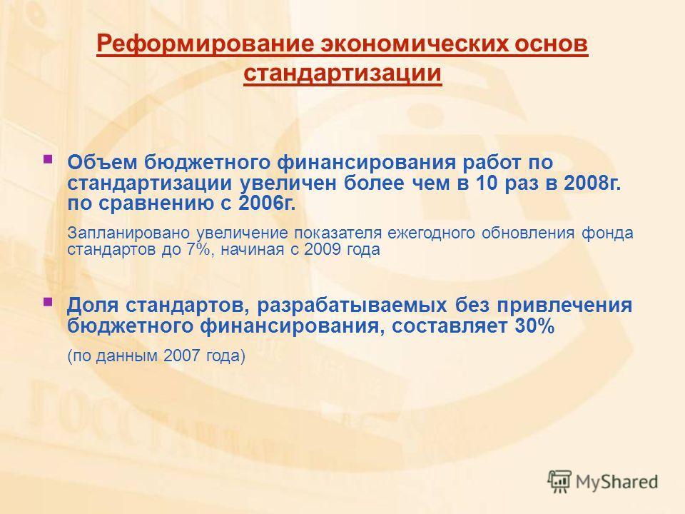 Реформирование экономических основ стандартизации Объем бюджетного финансирования работ по стандартизации увеличен более чем в 10 раз в 2008г. по сравнению с 2006г. Запланировано увеличение показателя ежегодного обновления фонда стандартов до 7%, нач