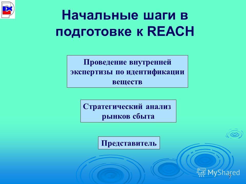 7 Начальные шаги в подготовке к REACH Проведение внутренней экспертизы по идентификации веществ Стратегический анализ рынков сбыта Представитель