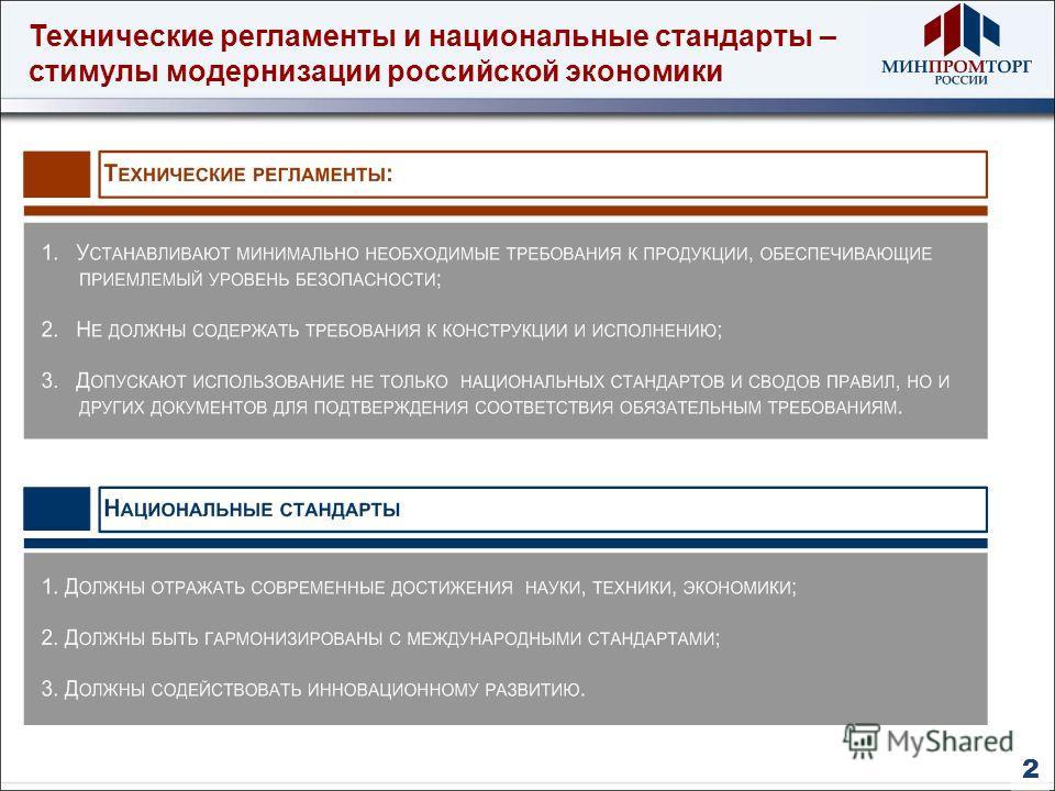 Технические регламенты и национальные стандарты – стимулы модернизации российской экономики 2