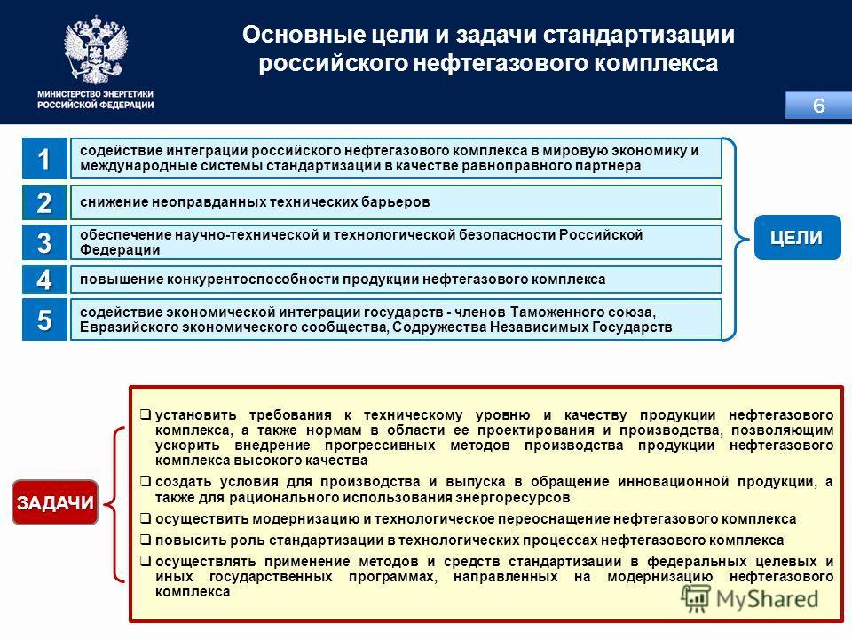 Основные цели и задачи стандартизации российского нефтегазового комплекса содействие интеграции российского нефтегазового комплекса в мировую экономику и международные системы стандартизации в качестве равноправного партнера1 снижение неоправданных т