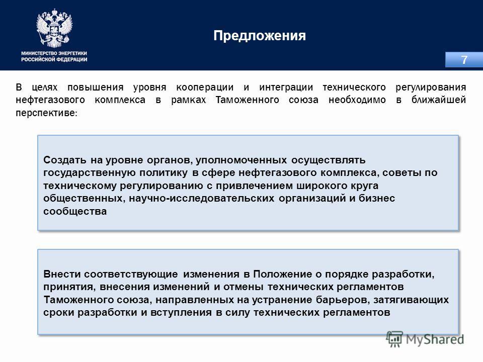 Предложения Внести соответствующие изменения в Положение о порядке разработки, принятия, внесения изменений и отмены технических регламентов Таможенного союза, направленных на устранение барьеров, затягивающих сроки разработки и вступления в силу тех