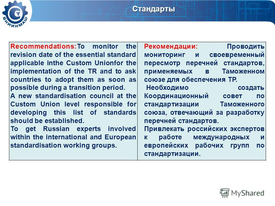 Стандарты Recommendations:To monitor the revision date of the essential standard applicable inthe Custom Unionfor the implementation of the TR and to ask countries to adopt them as soon as possible during a transition period. A new standardisation co
