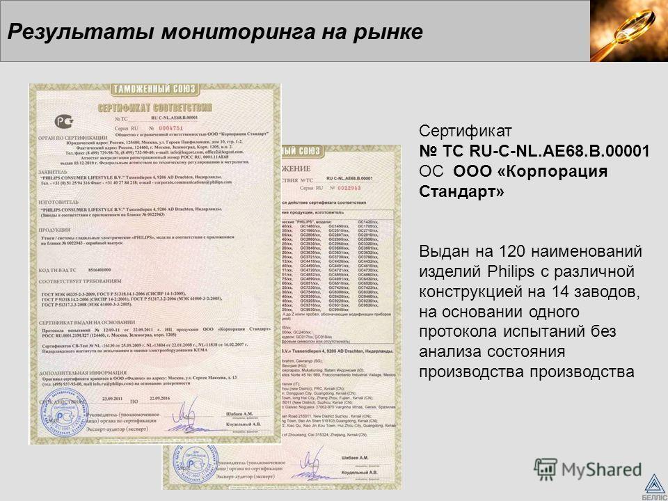 Результаты мониторинга на рынке Сертификат ТС RU-C-NL.AE68.B.00001 ОС ООО «Корпорация Стандарт» Выдан на 120 наименований изделий Philips с различной конструкцией на 14 заводов, на основании одного протокола испытаний без анализа состояния производст
