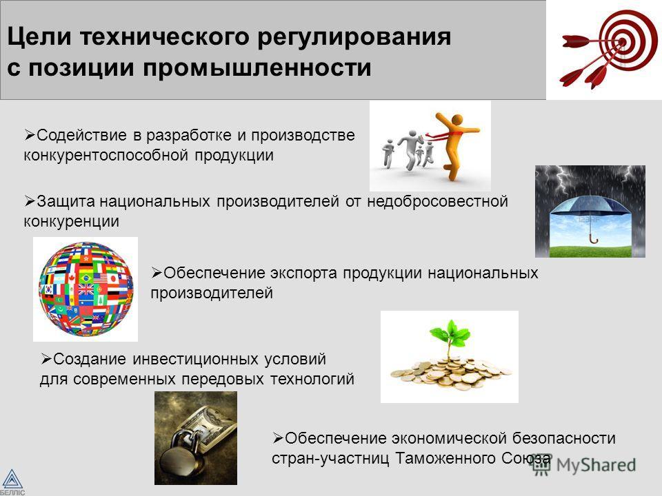 Цели технического регулирования с позиции промышленности Содействие в разработке и производстве конкурентоспособной продукции Защита национальных производителей от недобросовестной конкуренции Обеспечение экспорта продукции национальных производителе