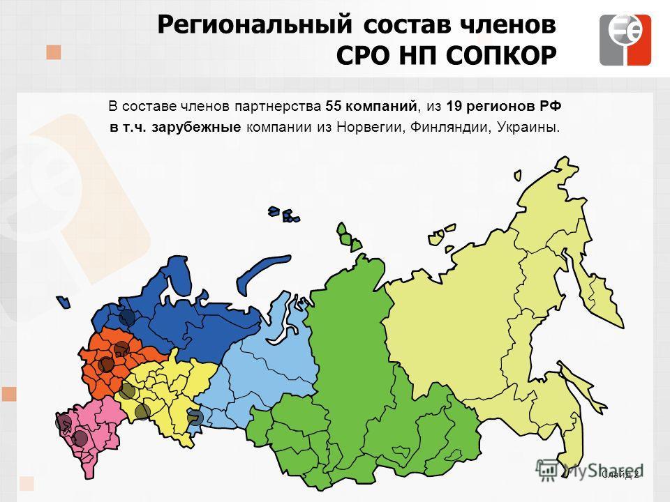 Региональный состав членов СРО НП СОПКОР В составе членов партнерства 55 компаний, из 19 регионов РФ в т.ч. зарубежные компании из Норвегии, Финляндии, Украины. Слайд 2