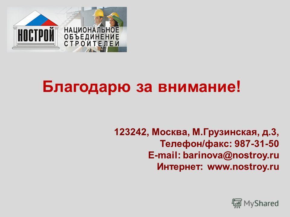 Благодарю за внимание! 123242, Москва, М.Грузинская, д.3, Телефон/факс: 987-31-50 E-mail: barinova@nostroy.ru Интернет: www.nostroy.ru