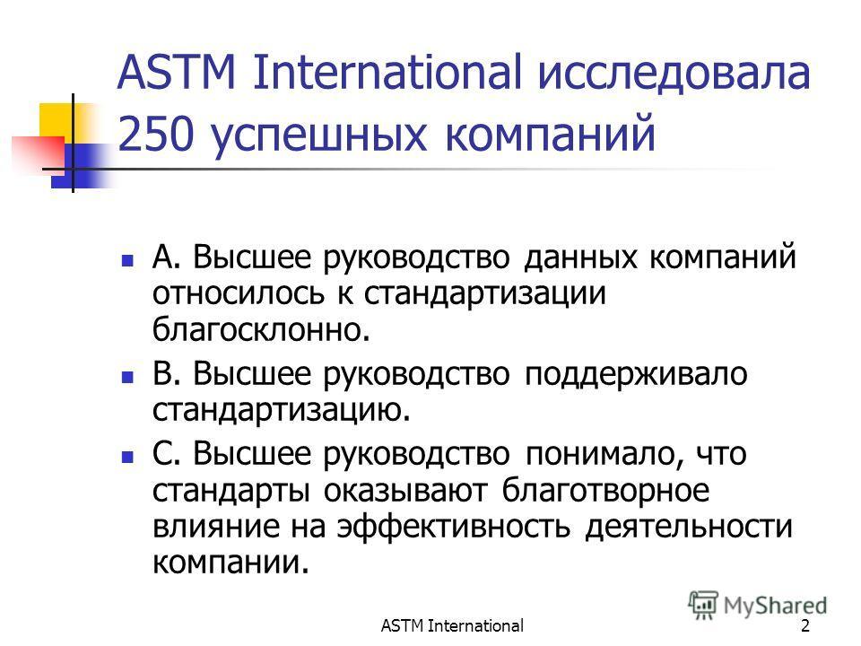 ASTM International2 ASTM International исследовала 250 успешных компаний A. Высшее руководство данных компаний относилось к стандартизации благосклонно. B. Высшее руководство поддерживало стандартизацию. C. Высшее руководство понимало, что стандарты